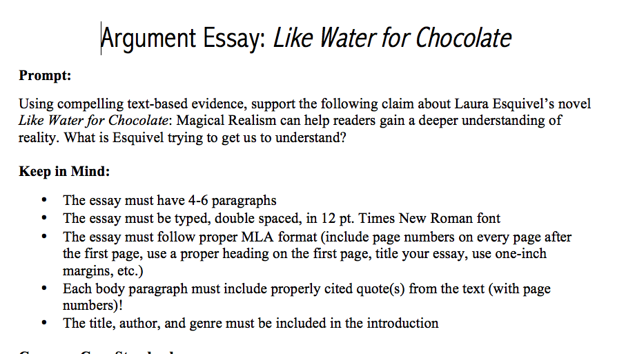 essay about like water for chocolate